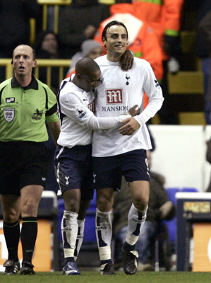 Football - Tottenham Hotspur v Charlton Athletic FA Barclays Premiership - White Hart Lane - 9/12/06 Tottenham's Dimitar Berbatov celebrate's after scoring his second and tottenham's fifth of the match Mandatory Credit: Action Images / Alex Morton Livepic NO ONLINE/INTERNET USE WITHOUT A LICENCE FROM THE FOOTBALL DATA CO LTD. FOR LICENCE ENQUIRIES PLEASE TELEPHONE +44 (0) 207 864 9000.